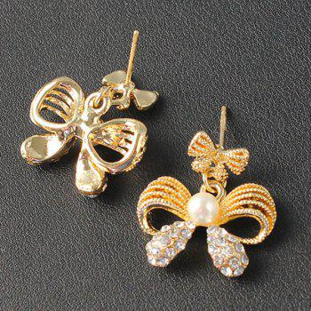 A Suit of Hollow Out Bowknot Rhinestone Necklace and Earrings - GOLDEN
