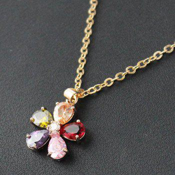 Un costume de Collier en alliage Graceful Colored Faux Gem Or Plaque et Boucles d'oreilles pour les femmes - Or