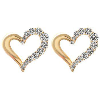 A Suit of Rhinestone Irregular Heart Necklace and Earrings - GOLDEN