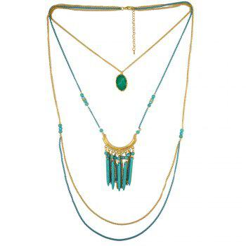 Multilayered Faux Turquoise Sweater Chain - BLUE BLUE