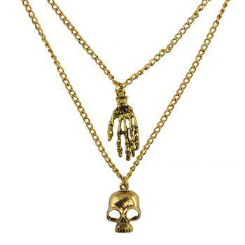 Delicate Multilayered Paw Skull Sweater Chain For Women - GOLDEN GOLDEN
