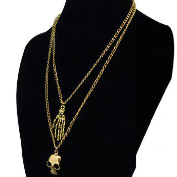 Delicate Multilayered Paw Skull Sweater Chain For Women -  GOLDEN