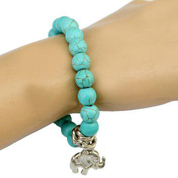 Elephant Fake Turquoise Beads Bracelet - GREEN