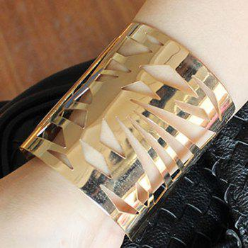 Punk Geometric Hollowed Wide Cuff Bracelet - GOLDEN