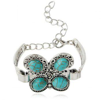 Vintage Butterfly Shape Turquoise Charm Bracelet - SILVER
