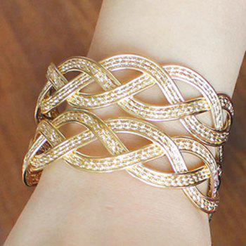Knitted Braid Multilayer Alloy Cuff Bracelet - GOLDEN