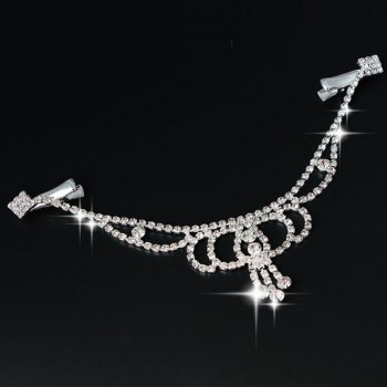 Delicate Rhinestone Hollow Out Pendant Forehead Chain For Women - SILVER WHITE