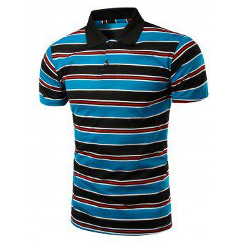Stylish Turn-Down Collar Striped Print Short Sleeve Polo T-Shirt For Men