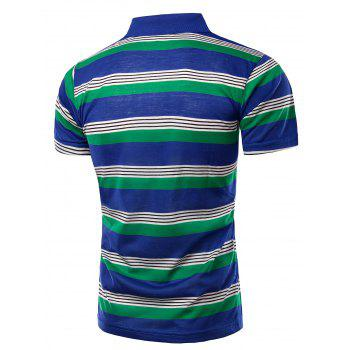 Trendy Striped Turn-Down Collar Short Sleeve Men's Polo T-Shirt - BLUE XL