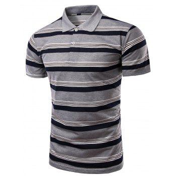 Trendy Striped Turn-Down Collar Short Sleeve Men's Polo T-Shirt