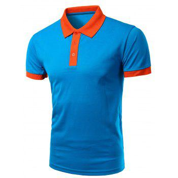 Casual Turn-Down Collar Color Block Short Sleeve Men's Polo T-Shirt
