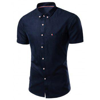 Modish Turn-Down Collar Short Sleeve Men's Button-Down Shirt