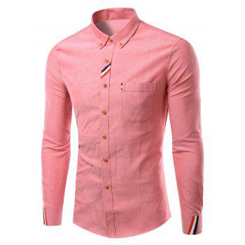 Stylish Turn-Down Collar Long Sleeve Button-Down Shirt For Men