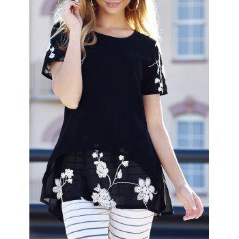 Stylish Women's Scoop Neck Short Sleeves Embroidered Long Blouse