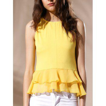 Sexy Women's Round Neck Ruffled Solid Color Top