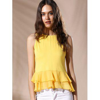 Sexy Women's Round Neck Ruffled Solid Color Top - YELLOW L