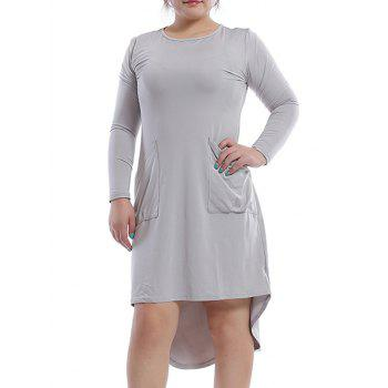 Stylish Round Neck Long Sleeve Pocket Design High Low Hem Women's Dress