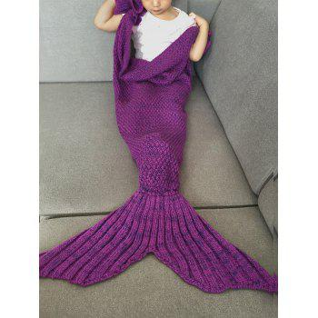 Fashion Knitted Falbala Shape Mermaid Tail Design Blankets For Baby - VIOLET