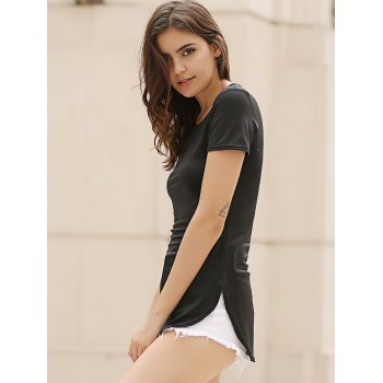 Sexy Round Neck Short Sleeve Furcal Solid Color Women's Dress - BLACK BLACK