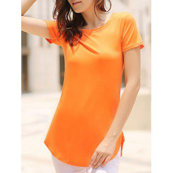Sexy Round Neck Short Sleeve Furcal Solid Color Women's Dress - ORANGE S