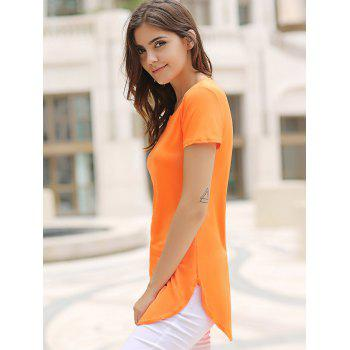 Side Split Mini Casual Dress - Orange M