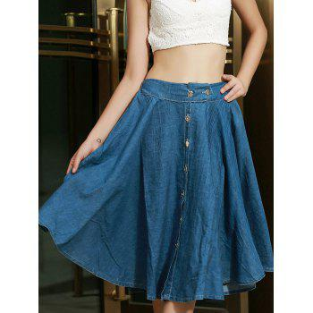 Fashionable Bleach Wash Buttons Denim Long Skirt For Women