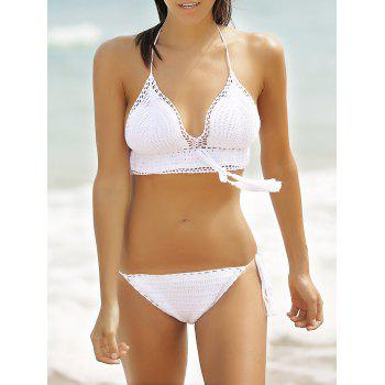 Chic Halter Pure Color Fringed Crochet Hollow Out Women's Bikini Set