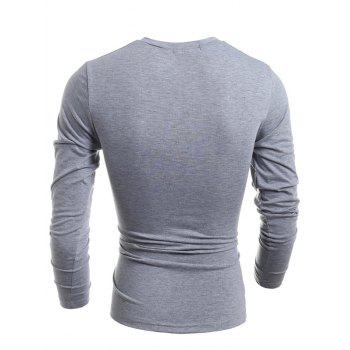Slimming V-Neck Vogue Letter Print Long Sleeve Polyester Men's T-Shirt - LIGHT GRAY L