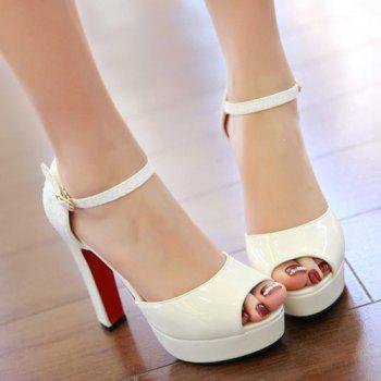 Graceful Sequins and Chunky Heel Design Women's Peep Toe Shoes - WHITE 37