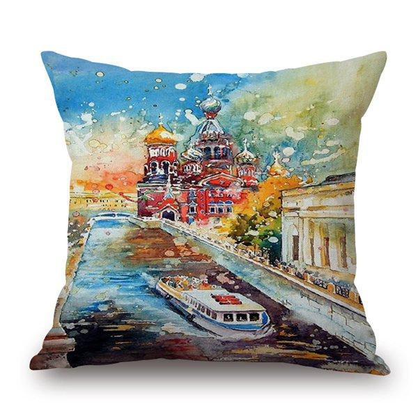 Abstract Watercolor Printing Waterside Town Pillow CaseHome<br><br><br>Color: COLORMIX
