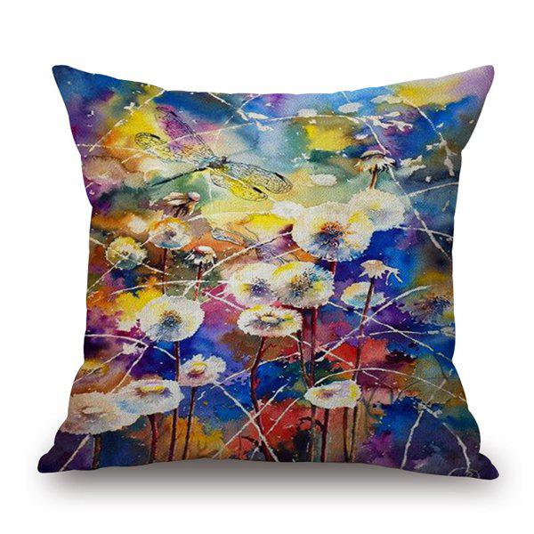 Abstract Dandelion and Dragonfly Watercolor Printing Cotton and Linen Pillow Case(Without Pillow Inner) - COLORMIX