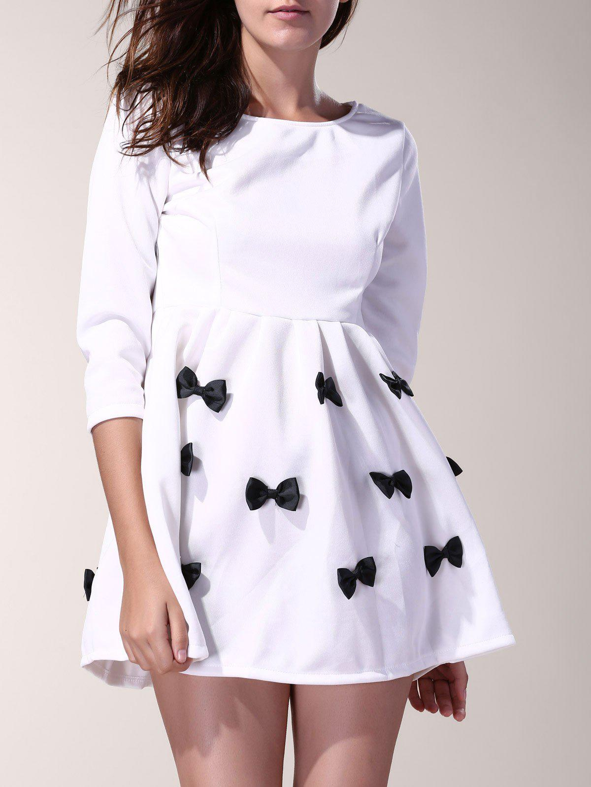 3/4 Sleeve Scoop Neck Bowknot Decorated Dress For Women - WHITE S