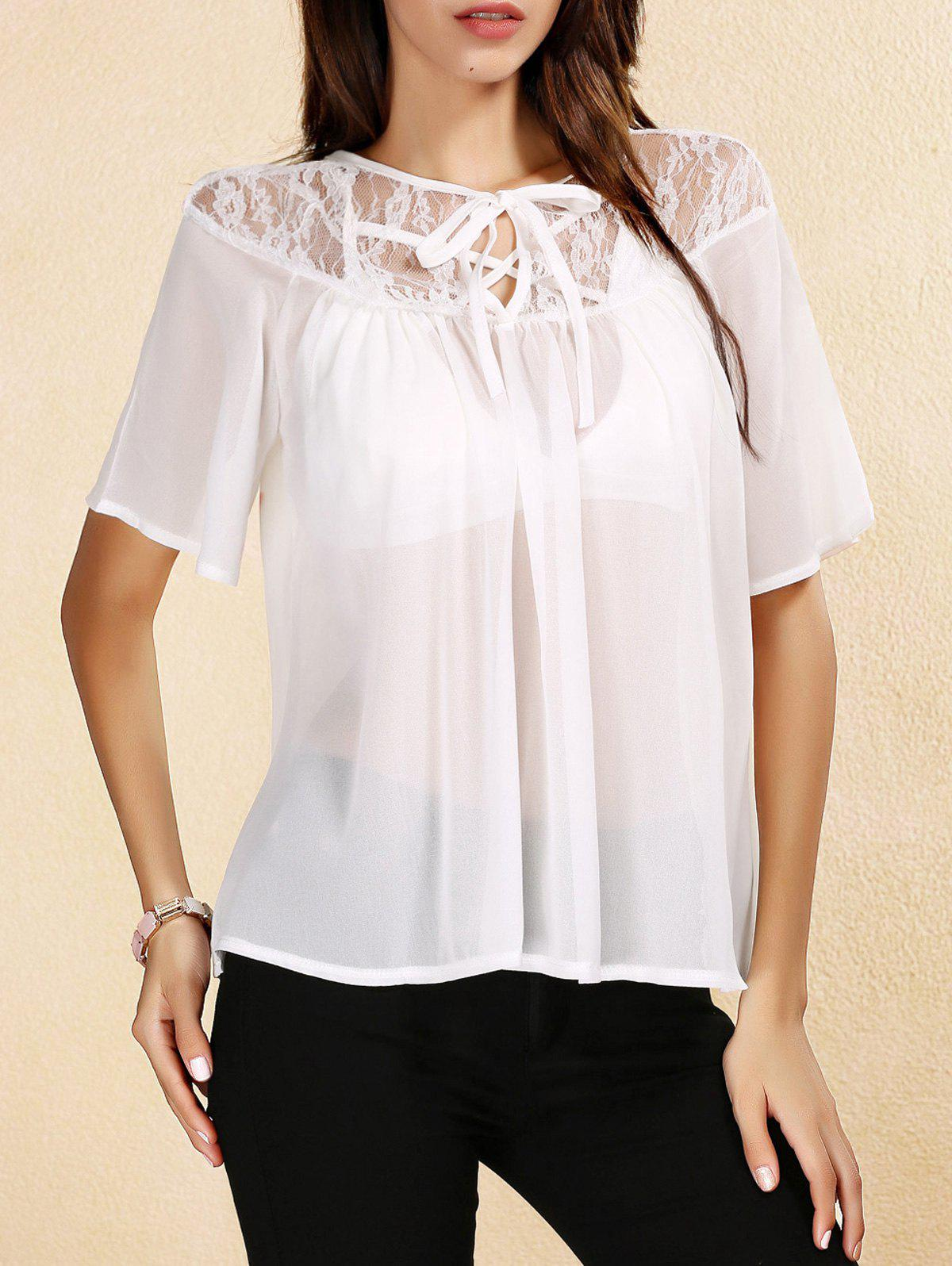 Sweet Women's Keyhole Neck Short Sleeves Lace Up Chiffon Blouse - WHITE XL