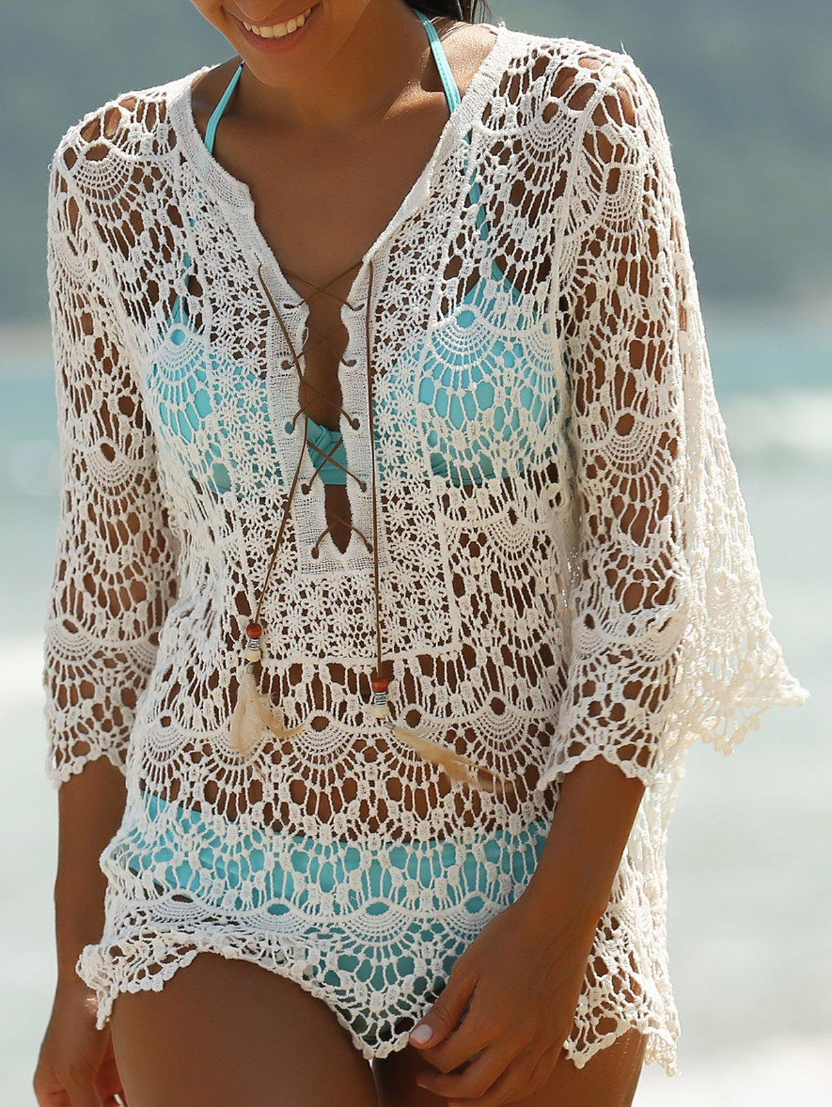 Lace-Up Crochet Cover-Ups Swimwear - WHITE ONE SIZE(FIT SIZE XS TO M)