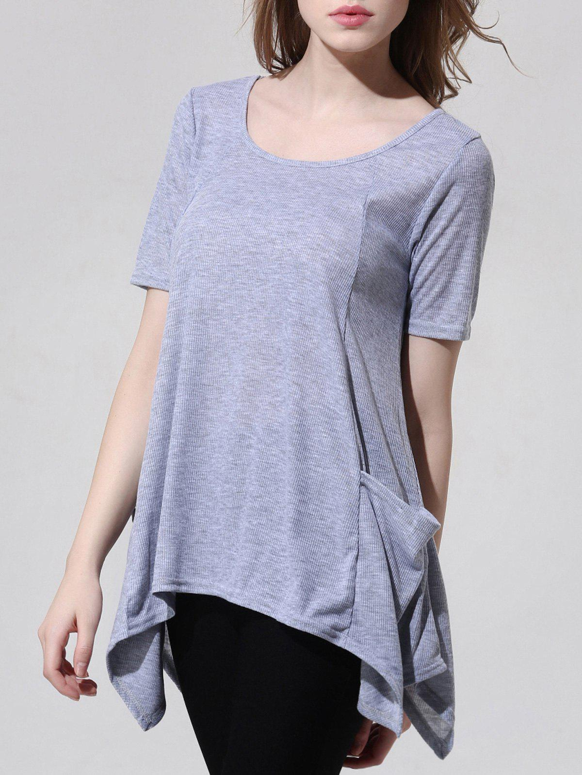 Fashionable Scoop Neck Asymmetric Gray T-Shirt For Women - GRAY XL