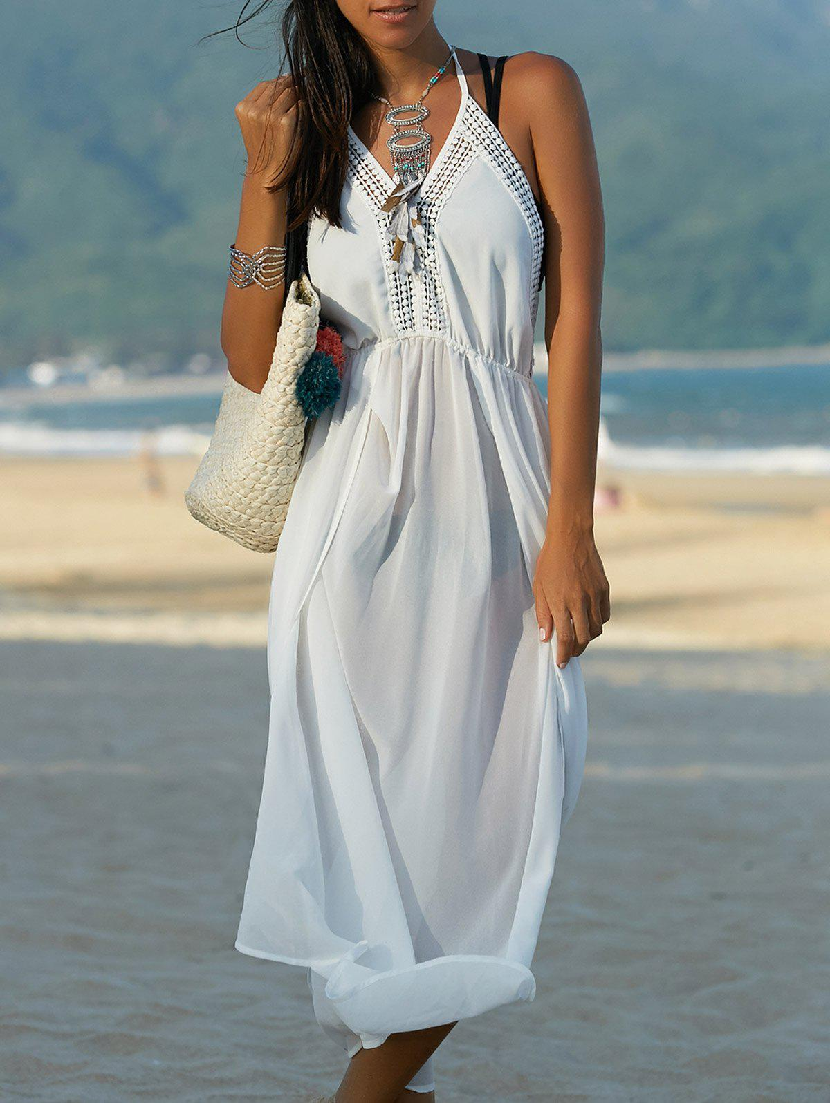 Bohemian Halter Backless Furcal Solid Color Women's Dress - WHITE ONE SIZE(FIT SIZE XS TO M)