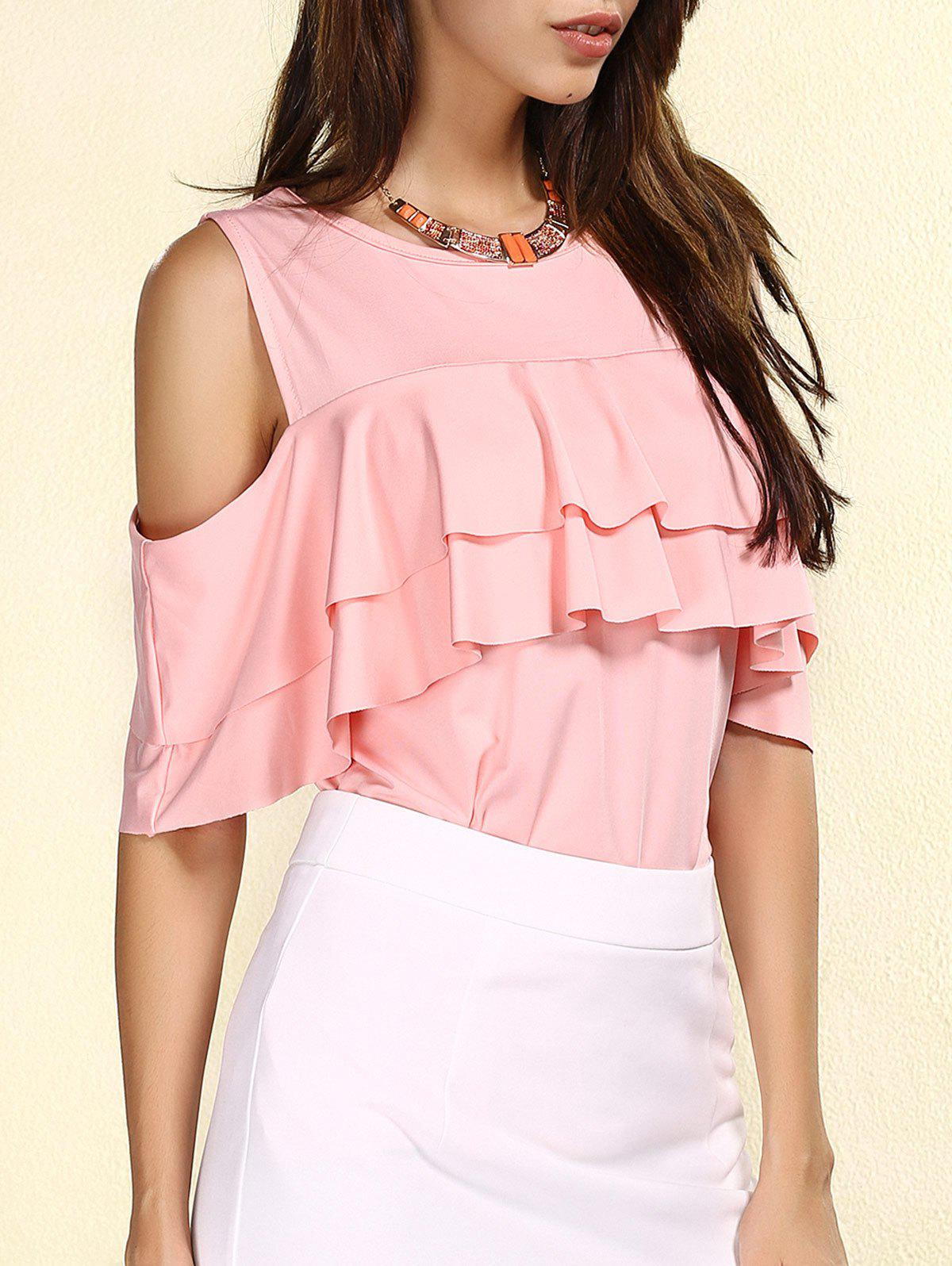 Women's Stylish Jewel Neck Cut Out Flounce T-Shirt - LIGHT PINK M