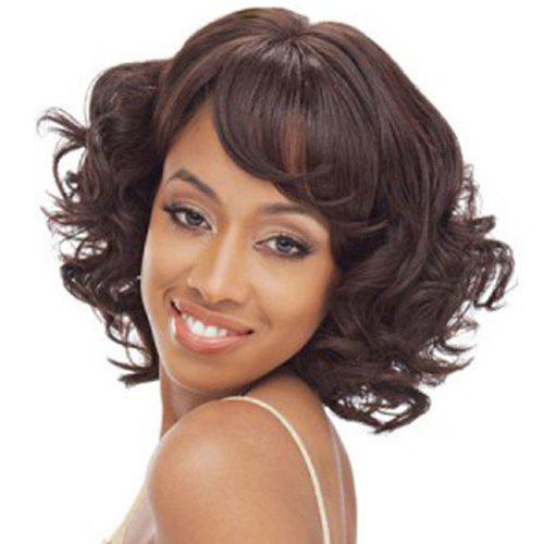 Fashion Women's Side Bang Heat Resistant Synthetic Curly Wig - DEEP BROWN