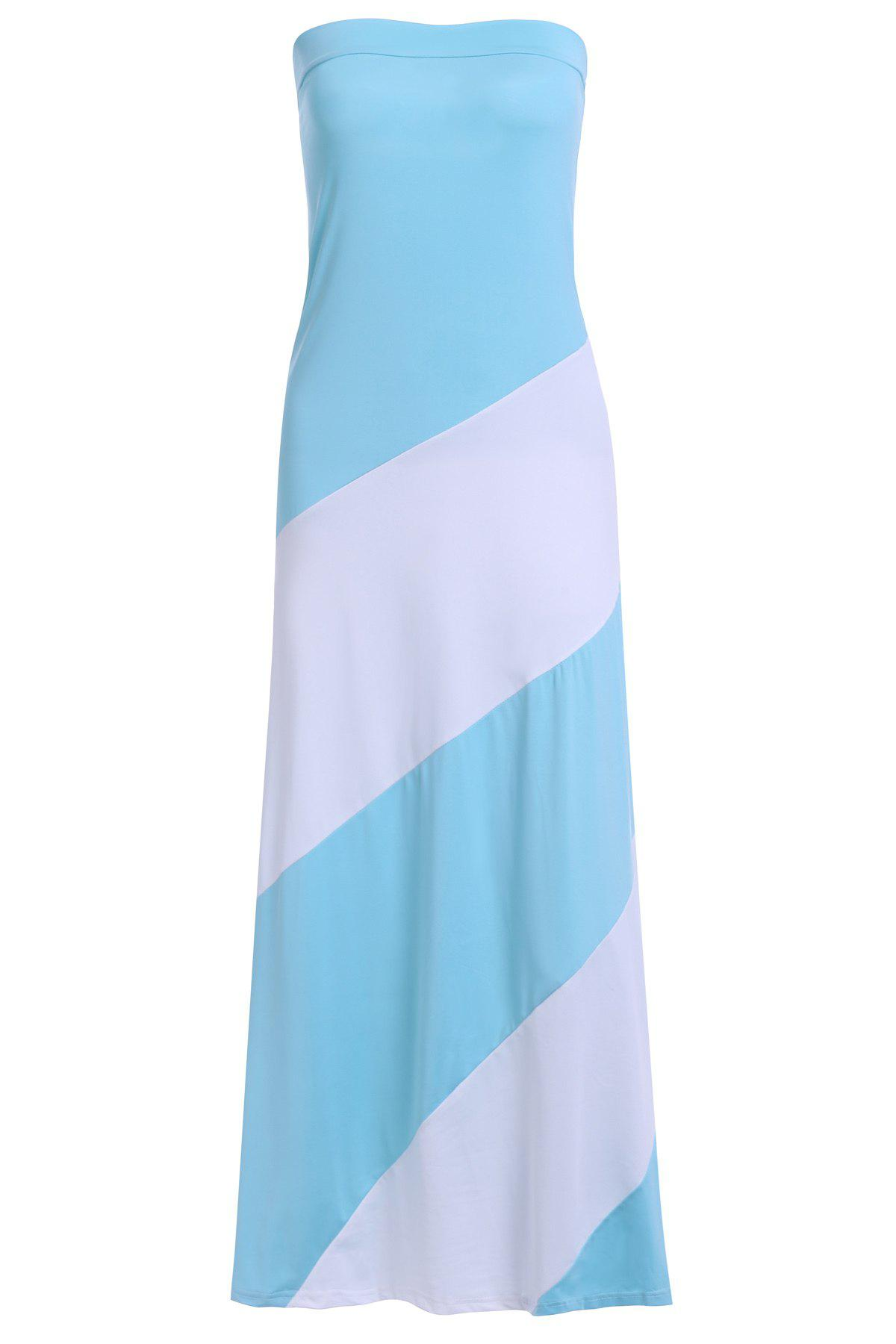 Allluring Color Block Strapless Women's Club Dress - LIGHT BLUE M