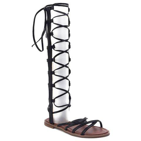 Casual Cross Straps and Zipper Design Women's Sandals - BLACK 39