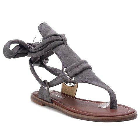Rome Style Flock and Solid Colour Design Women's Sandals - GRAY 39