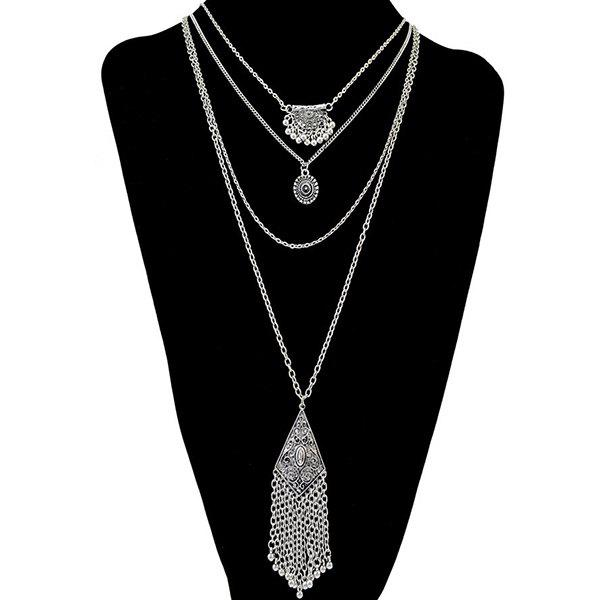 Retro Multilayer Embossed Round Tassel Necklace - SILVER