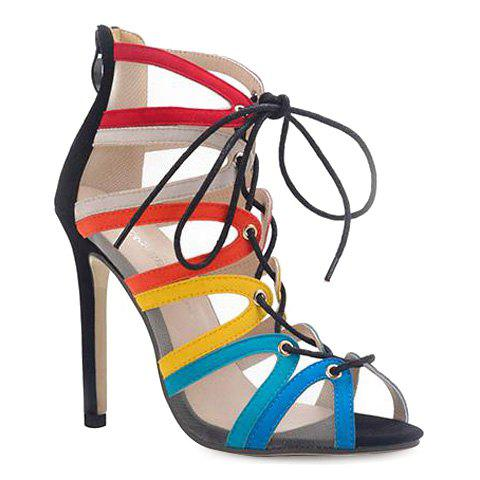 Stylish Gauze and Multicolor Design Women's Sandals - COLORMIX 39
