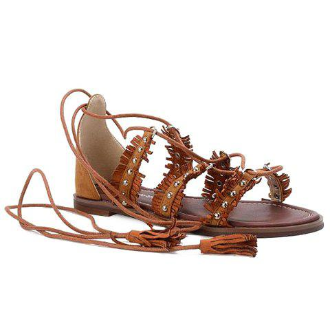 Leisure Lace-Up and Tassels Design Women's Sandals - BROWN 39