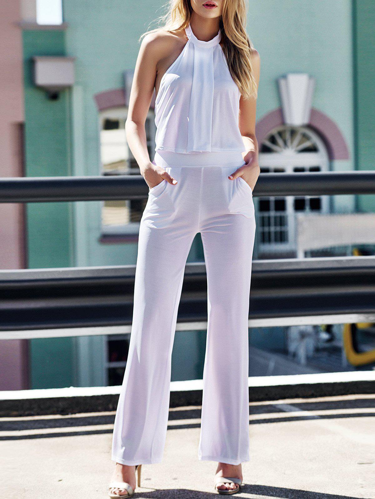 Stylish Halter Solid Color Crop Top + High-Waisted Pants Women's Twinset - WHITE L