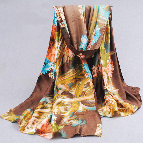 Chic Flower and Leaf Pattern Cool Summer Women's Coffee Color Silky Scarf -  COFFEE