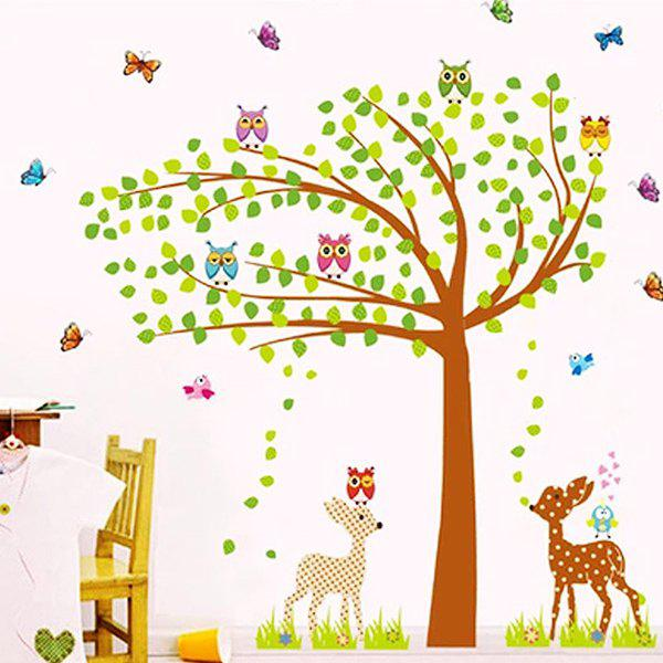 Stylish Owl Trees House Pattern Wall Sticker For Children's Bedroom Decoration - COLORMIX