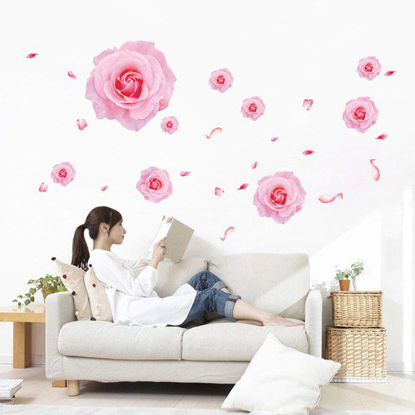 Stylish Pink Rose Pattern Wall Sticker For Living Bedroom Decoration - LIGHT PINK
