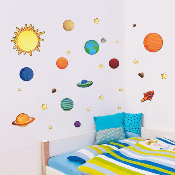 Stylish Galaxy Planets Pattern Wall Sticker For Children's Bedroom Decoration