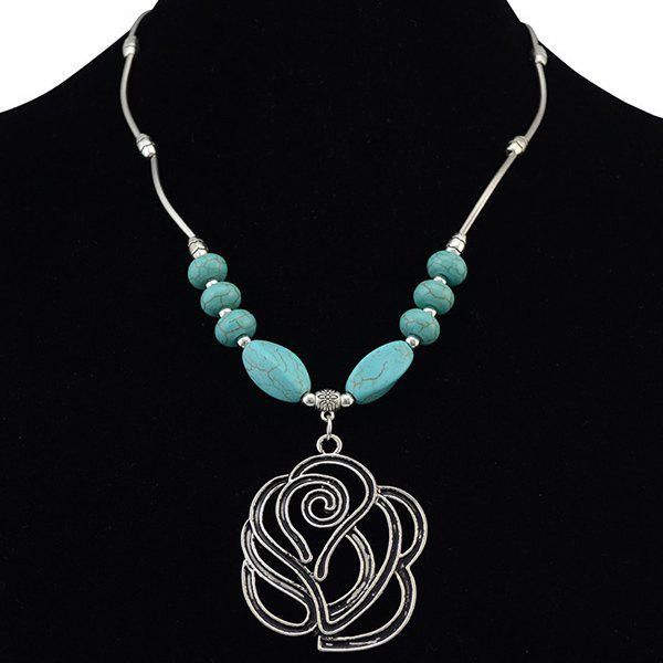 Retro Faux Turquoise Hollow Out Rose Necklace - LAKE BLUE